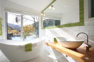 green white bathroom bath subway