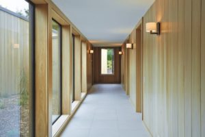 corridor tiling wood glass