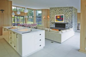 living room kitchen white beige tiling 2