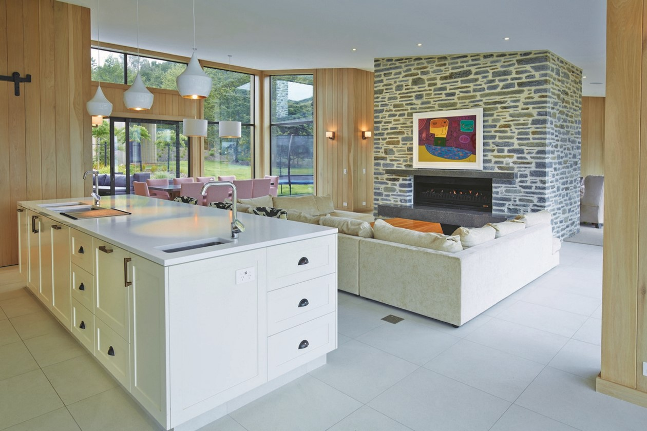 living room kitchen white beige tiling 2