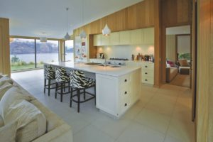 living room kitchen white beige tiling